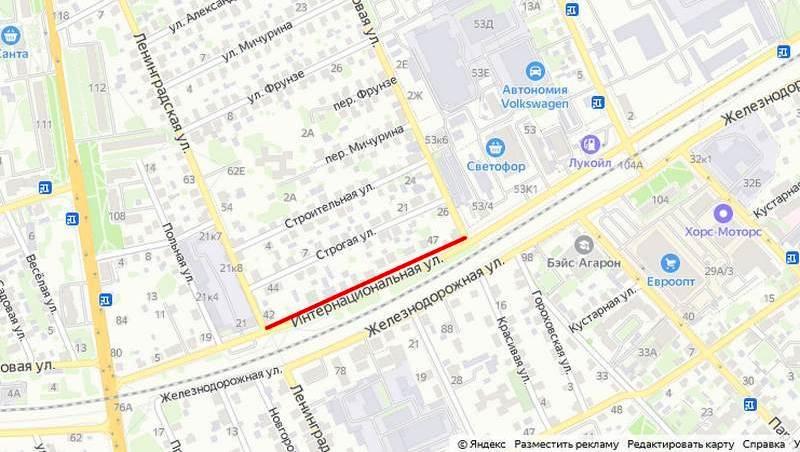 Красным выделен участок дороги, на котором будет ограничено движение. Использованы Яндекс карты