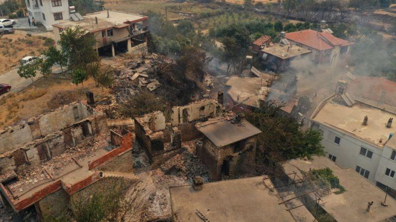 К четвергу пожар добрался до поселка Караоз к северу от Антальи. Пожары начались в малонаселенном районе в 75 км к востоку от города. Фото Anadolu Agency