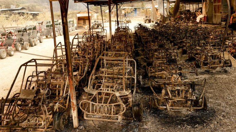 Стоянка багги в Анталье не пережила пожара. Причиной быстрого распространения пламени стал сильный ветер, сообщиют СМИ. Фото Anadolu Agency