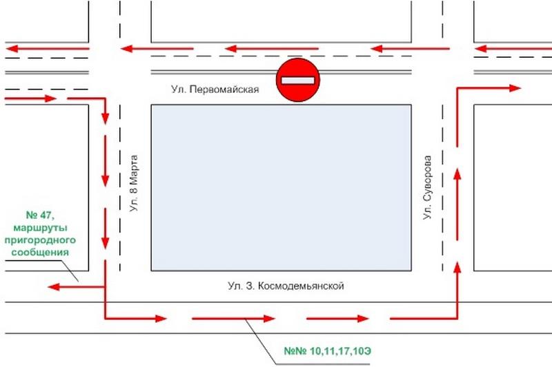 Схема движения, с сайта Пинского автопарка