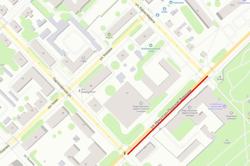Красным выделен участок улицы, на которой будет проводиться ремонт. Использованы Яндекс-карты