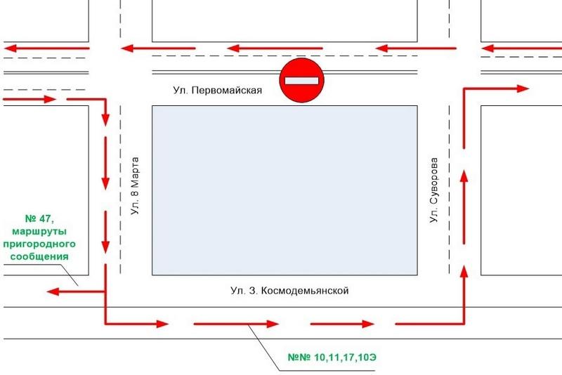 Схема движения с сайта Пинского автобусного парка